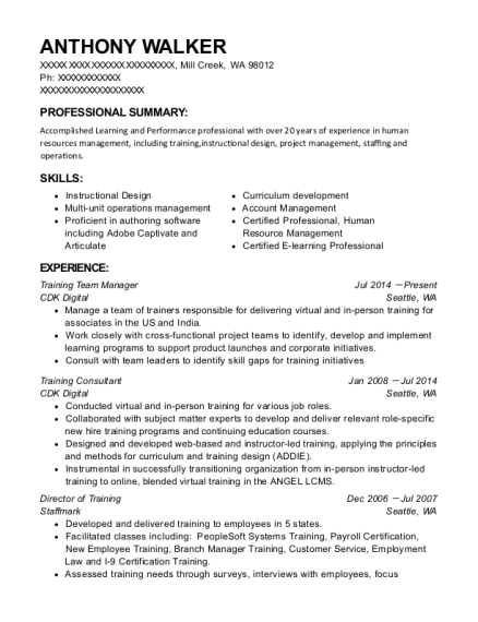 Best Training Team Manager Resumes | ResumeHelp