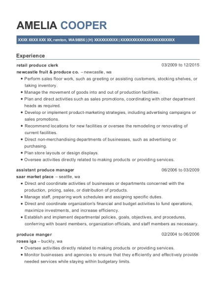 View Resume Retail Produce Clerk