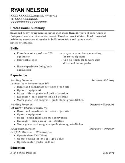 schlumberger oil well services equipment operator resume sample