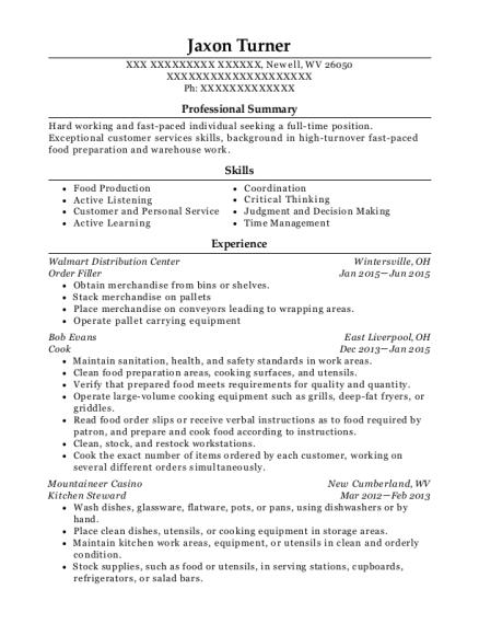 kitchen steward resume