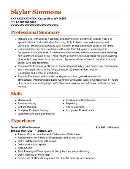 Best General Mine Foreman Resumes | ResumeHelp
