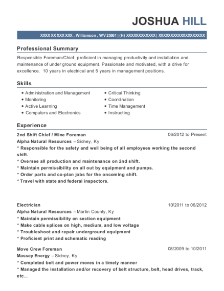 Alpha Natural Resources 2nd Shift Chief Resume Sample - Williamson ...