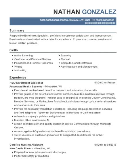 best hmo enrollment specialist resumes resumehelp