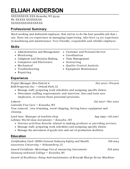best lead man manager of machine shop resumes resumehelp