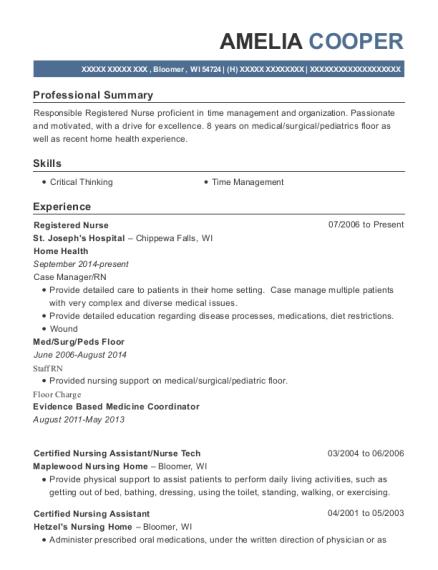amelia cooper - Nurse Technician Resume