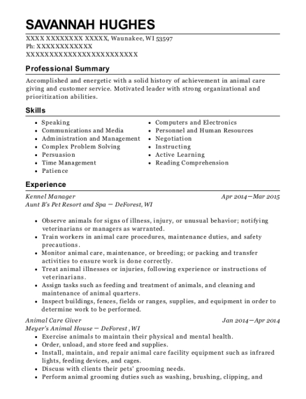 view resume - Animal Care Resume