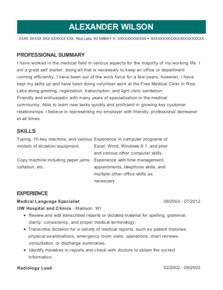 Nuance Communications Medical Language Specialist Resume Sample ...
