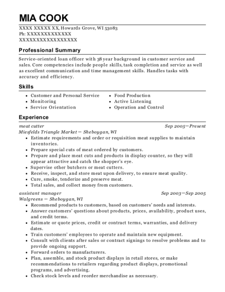 miesfelds triangle market meat cutter resume sample
