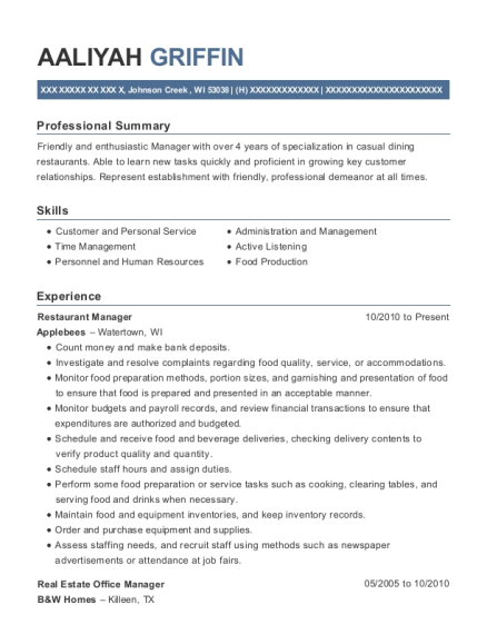 real estate office manager resumes