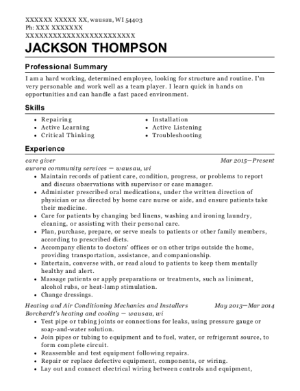 jackson thompson - Pizza Maker Resume