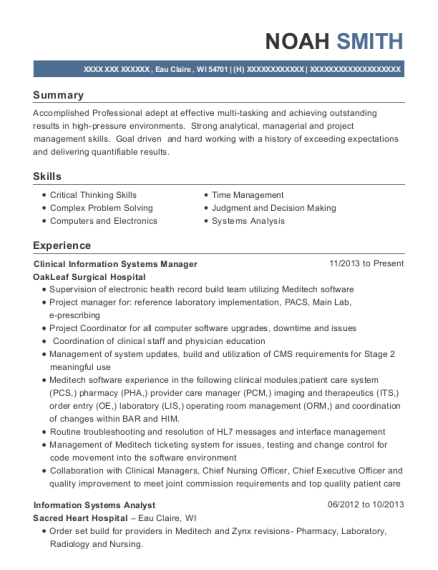 View Resume. Clinical Information Systems Manager