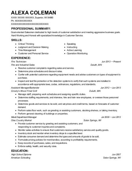 Fire Technician , Customer Service Representative. Customize Resume · View  Resume