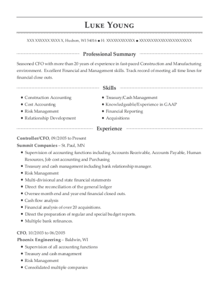 Variable, Inc Manufacturing Controller/cfo Resume Sample - Cana ...