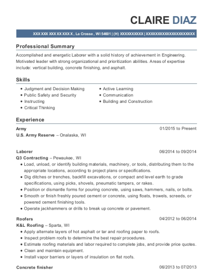 Army reserve resume help