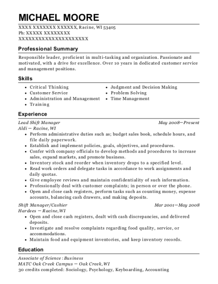 Aldi Lead Shift Manager Resume Sample - Racine Wisconsin | ResumeHelp