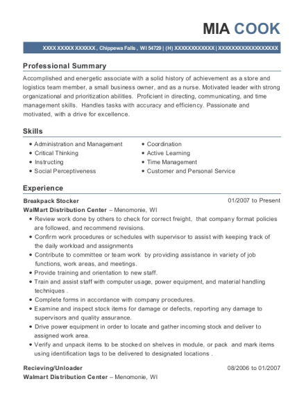 stocker resume