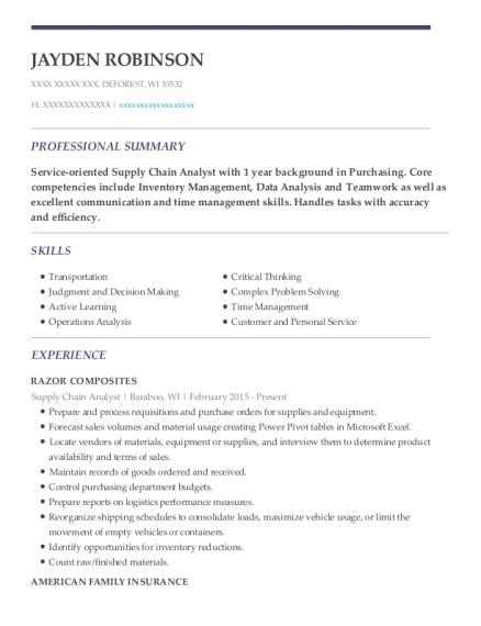 view resume supply chain analyst - Supply Chain Analyst Resume