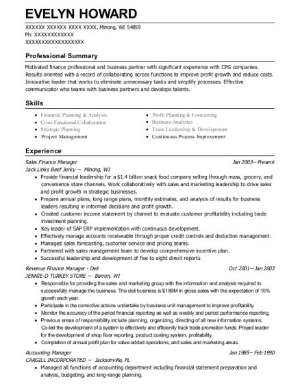 jack links beef jerky sales finance manager resume sample