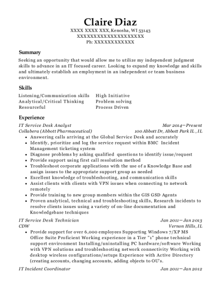 Best Service Desk Analyst Resumes