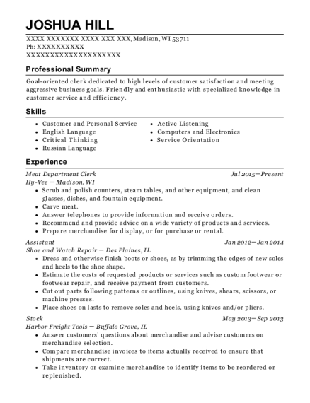 hy vee meat department clerk resume sample