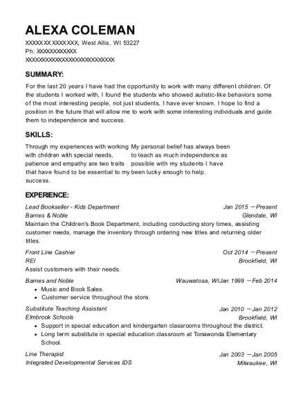 Barnes & Noble Lead Bookseller - Kids Department Resume Sample ...