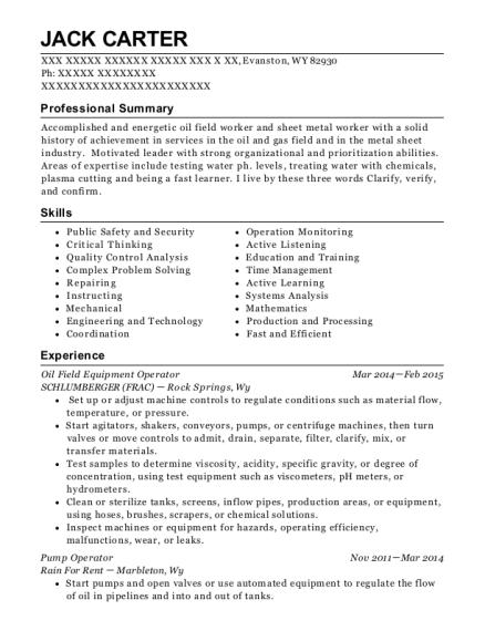 bayou well service pump operator resume sample