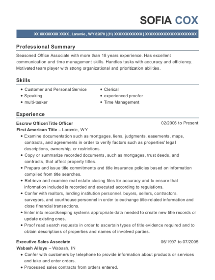 first american title escrow officer  title officer resume sample